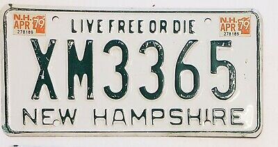 1979 NEW HAMPSHIRE INFAMOUS INTERIM SERIES License Plate Tag  XM3365