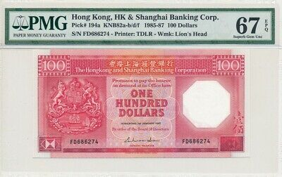 Hong Kong Bank Hong Kong  $100 1987  PMG  67EPQ