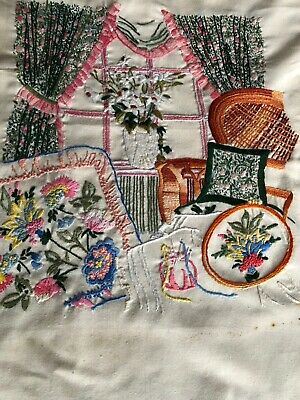 Pretty Vintage Hand Embroidered Panel