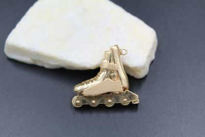 Solid Heavy 14K Yellow Gold 3D Custom Made Rollerblade Charm/pendant 14.1 Grams!