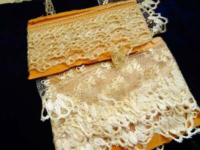 2 Beautiful Lengths Of Antique 18th Century Blonde Silk Lace