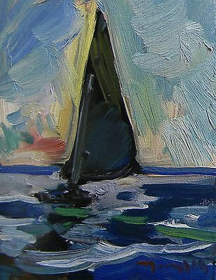 Jose Trujillo Oil Painting Impressionist Sailboat Dusk Evening Abstract Fine Art