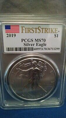 2019 1oz Silver Eagle PCGS MS70 First Strike Flag Label