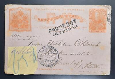 HAITI to Germany Poland 1905 NY PAQUBOT Line Pmk on PSC Card PaP to Stettin !!