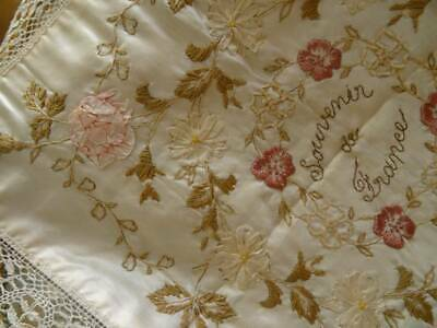 A Beautiful Antique Victorian Ribbon Work On Silk With Lace Border C.1890