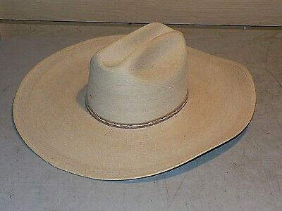 35-Q TOASTED COWBOY HAT ~ Western PALM LEAF Straw ~ Leather