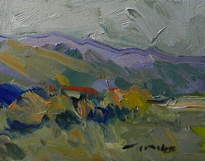 Jose Trujillo Original Oil Canvas Painting Expressionism Abstract Arizona Hills