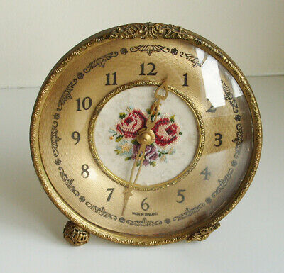 Beautiful Vintage Brass Mantle Clock with Embroidery Needlework Face English