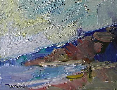 JOSE TRUJILLO OIL PAINTING Impressionism SEASCAPE ORIGINAL Shore Beach 8X10 COA