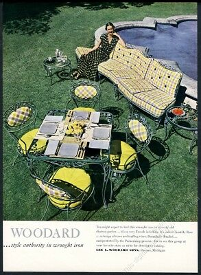 1949 Woodard wrought iron Chantilly Rose sofa chair table photo vintage print ad