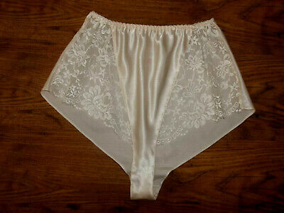 Vtg 70s St Michael Slinky Slippery Satin Sheer Lacy Tap Panty French Knickers M
