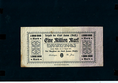 NOTGELD  GERMANY HAMM westf- 13 AUGUST 1923 -  1 MILLION MARK //A719