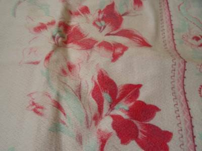 A beautiful 19th Century French Printed Cretonne Pink Lilies Fabric