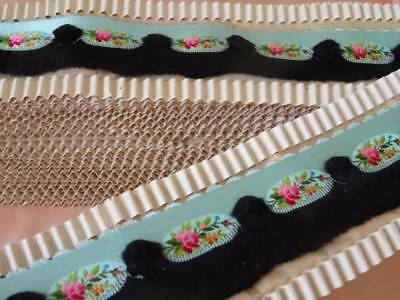 A Stunning Rare Antique French Duck Egg Blue Silk Floral Brocade Ribbon