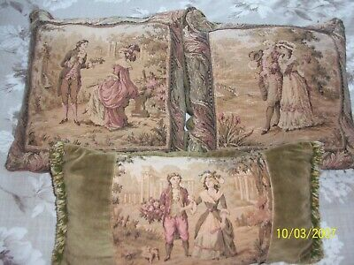 Vintage Three Buckingham Tapestry's Series ~ 18Th Century French Scene~ Cushions
