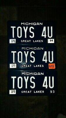 "Vintage Blue Michigan Personalized -1990's License Plate , ""TOYS 4U"""