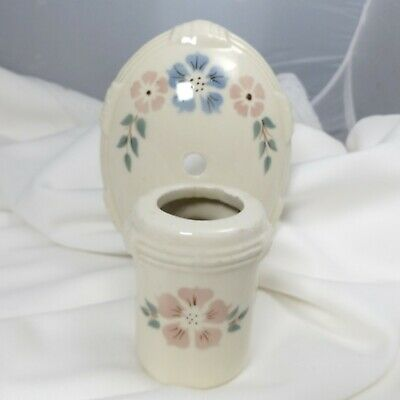 Old Porcelier Porcelain Floral Electric Wall Light Fixture Pull Chain Sconce