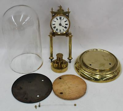 400 Day Torsion Glass Dome Vintage Antique Anniversary Clock w/Disc Pendulum
