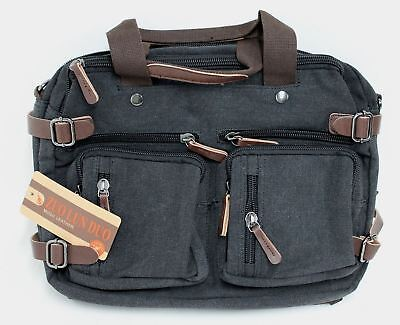 BNWT ZUO LUN DUO Men s Canvas Multifunction Hybrid Backpack   Laptop Bag bf58175ca6