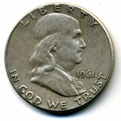 1961 P Franklin Half Dollar 90%Silver Nice US Rare 50 Cent FACE Coin U.S 10#1610
