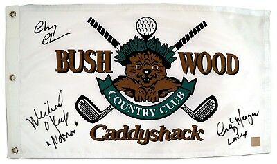 Chevy Chase, Michael OKeefe & Cindy Morgan Autographed Caddyshack Flag ASI Proof