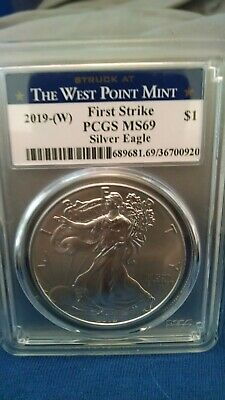 2019(W)1oz Struck at West Point Silver Eagle PCGS MS69 First Strike WP Label