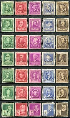 US 859-893 The Complete Famous Americans of 1940 MNH
