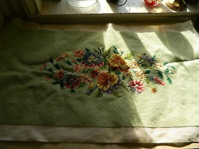 Vintage Completed Needle Point Bench Pillow Cover Green floral design 32 x 16