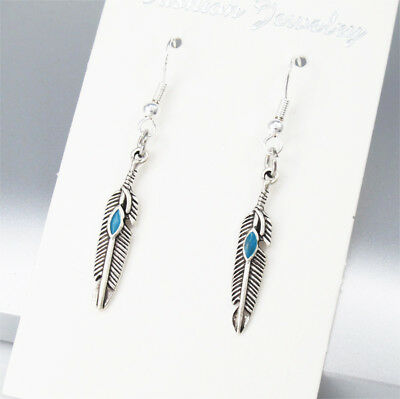 925 Sterling Silver Hook Sillver Alloy Native American Feather Turquoise Earring