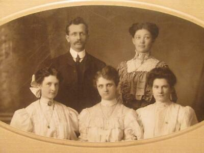 Morton Lindsay Ontario Canada Early 1900s Matted Cabinet Photo Family of 5