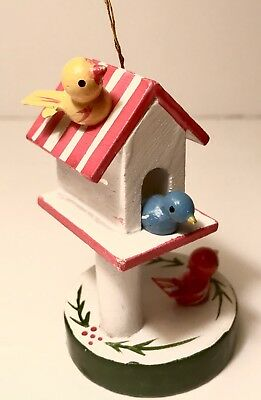 Antique/Vintage Wooden Christmas Bird & House Ornament - Hand Made German