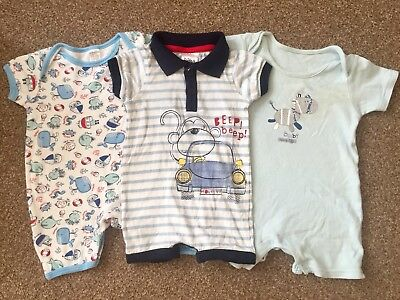 Baby Boys Triple Pack Of Playsuits, Size 3-6 Months