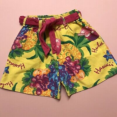 VTG 1990s Osh Kosh American Floral Tiki Retro Yellow Cute Tropical Shorts 4-6Y