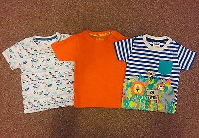Baby Boys Triple Pack Of Animal Themed Tops, Size 12-18 Months, BNWT