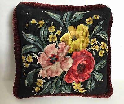 Vintage Floral Needlepoint Cushion Pillow W/velvet Burgundy Back Paris Apartment