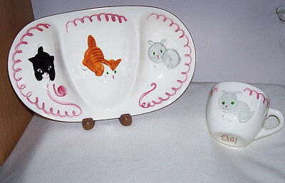 Stangl Kiddieware cats KITTEN CAPERS divided feeding dish & cup excl. pottery