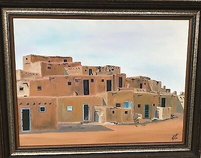 "American Artist Wayne Simon Oil Painting on Canvas Board Titled 'Adobe"" 1972"