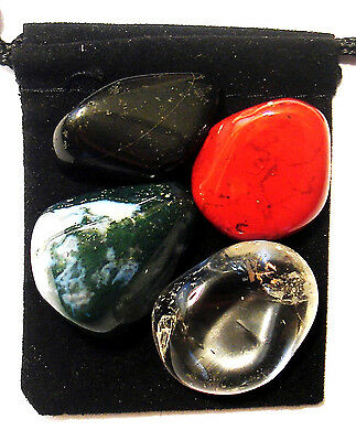 LONG TERM ILLNESS Tumbled Crystal Healing Set = 4 Stones + Pouch + Card