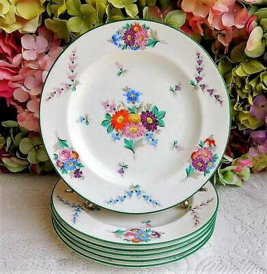 Antique Wedgwood X6915 Set 12 Plates Hand Painted Bone China Old Paris Flowers