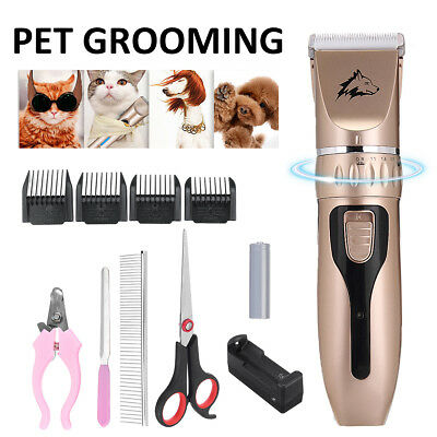 Cordless Electric Pet Hair Trimmer Scissors Dog Shaver Grooming  Tool Kit