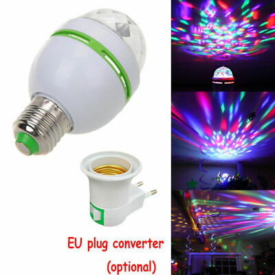 3W E27 RGB Crystal Ball Auto Rotating LED Stage Light Bulb Disco Party Lamp CHZ