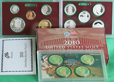 2010 Annual SILVER 14 Coin Proof Set Box COA and ATB Park Quarters US Mint Issue