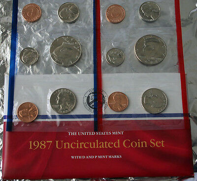 1987 P and D 10 Coin Annual Uncirculated Set USA BU Coins United States Mint