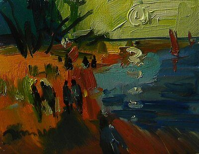 Jose Trujillo Original Oil Painting People Water Signed Post Impressionist Art