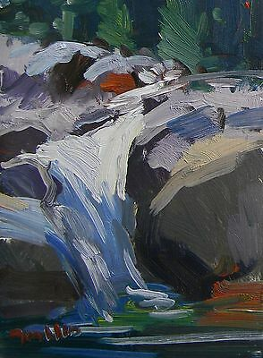 Jose Trujillo Original Oil Painting Impressionist Cascade Waterfall Realism Coa