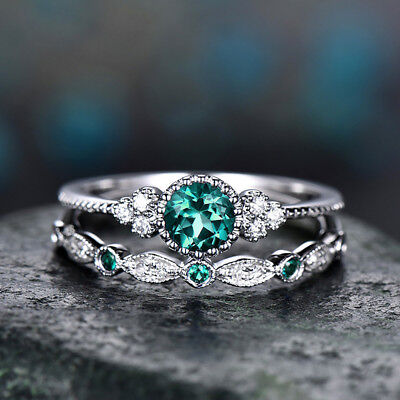 Fashion Green Round Cut Sapphire Women Wedding Ring 925 Silver Jewelry Size 7
