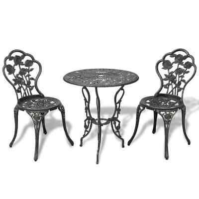 3 Piece Outdoor Bistro Set Premium Cast Iron Patio Table and Chair Bistro Set