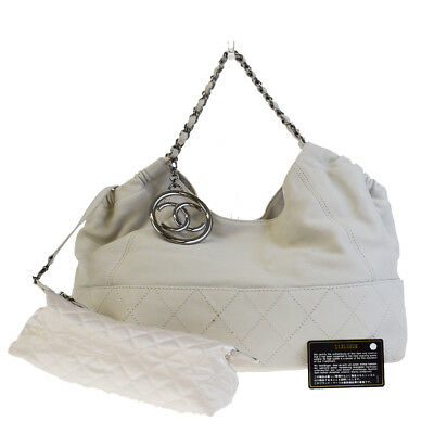 Auth CHANEL COCO CABAS CC Quilted Chain Shoulder Bag Leather Off White  03EG238 cd70b38fc6d16