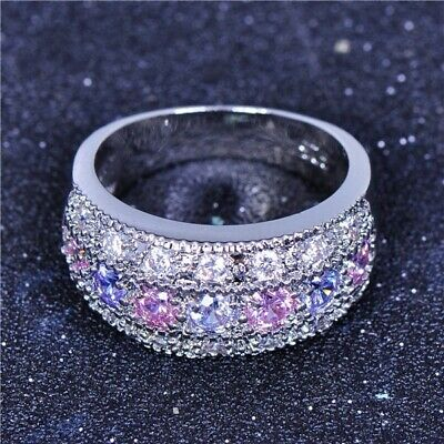 Huge Princess Cut 5.2CT Amethyst Women Silver Ring Engagement Jewelry Size 6-10