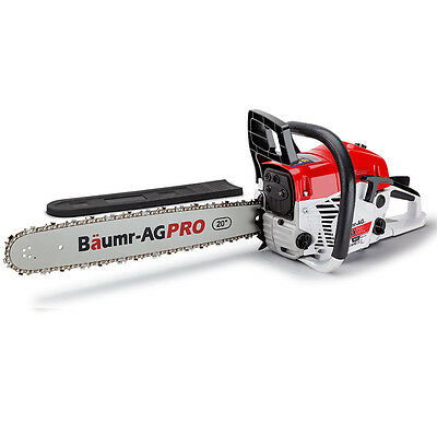 "NEW Baumr-AG 62cc Petrol Commercial Chainsaw 20"" Bar E-Start Pruning Chain Saw"